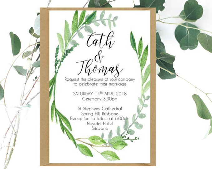 Watercolour Leaf Wreath Wedding Invitations