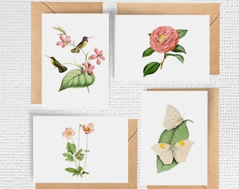 Butterflies and Birds with Flowers Note Card Set | Set of 8 Notecards
