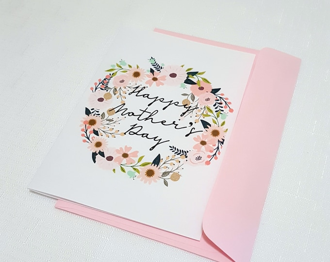 Floral Wreath Happy Mother's Day Card