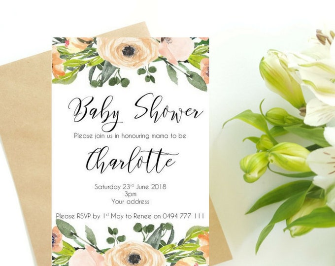 Floral Baby Shower Invitations x 10 | Watercolour Invitations