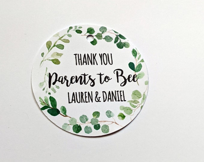 Eucalyptus Leaf Wreath Thank you Parents to Bee Baby Shower Favour Tags (70) | Mummy to Bee
