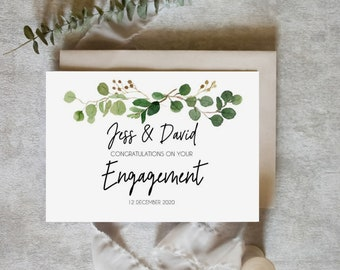 Personalised Botanical Congratulations on your Engagement Card