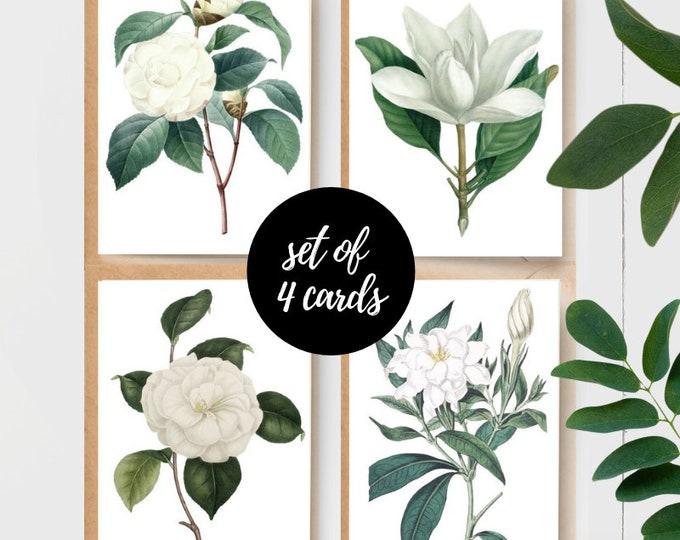 Vintage White Floral Note Cards - (Set of 4)