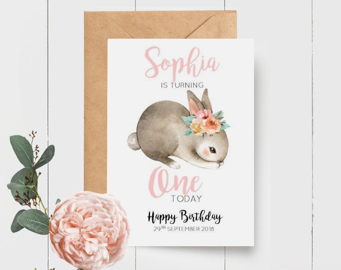 Bunny 1st Birthday Card