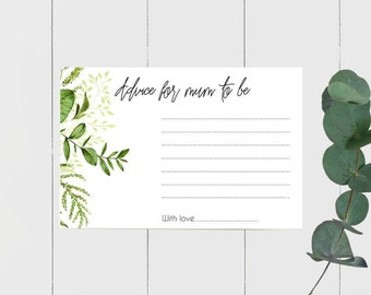 Botanical Greenery Advice for Mum to Be cards x 20