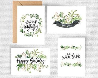 Set of 4 Botanical Birthday Cards