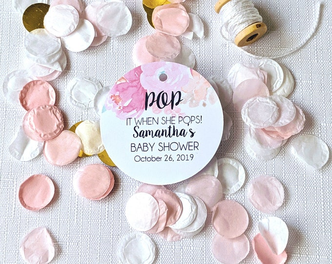 Pink Floral Pop it when she pops Baby Shower Favour Tags