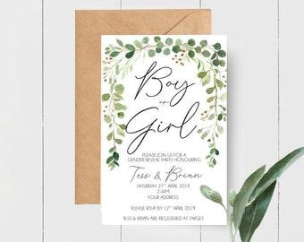 Boy or Girl Gender Reveal Greenery Leaves Botanical Baby Shower Invitations x 10