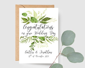 Congratulations on your Wedding Day Card | Personalised Botanical Newly Married Couple Greeting Card