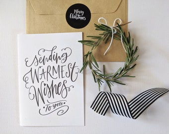 Typography Christmas Card | Warmest Wishes