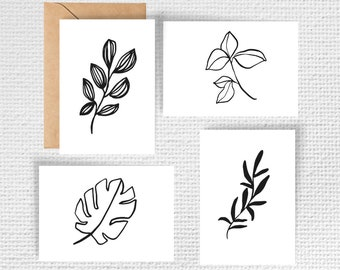 Black and White Abstract Leaves Note Card Stationery Set (4 cards with envelopes)