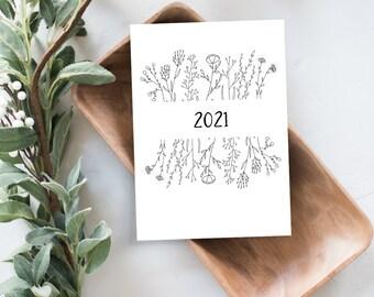 Simple Modern Botanical 2021 Desk Calendar Cards