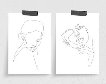 Set of 2 A6 Minimal Line Art Prints - Womans Face