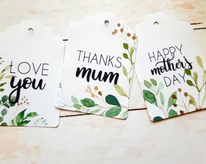 Greenery Botanical Happy Mother's Day Tags x 12 with string