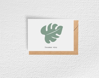 Monstera Leaf Baby Shower Thank you Cards | Set of 8 Notecards