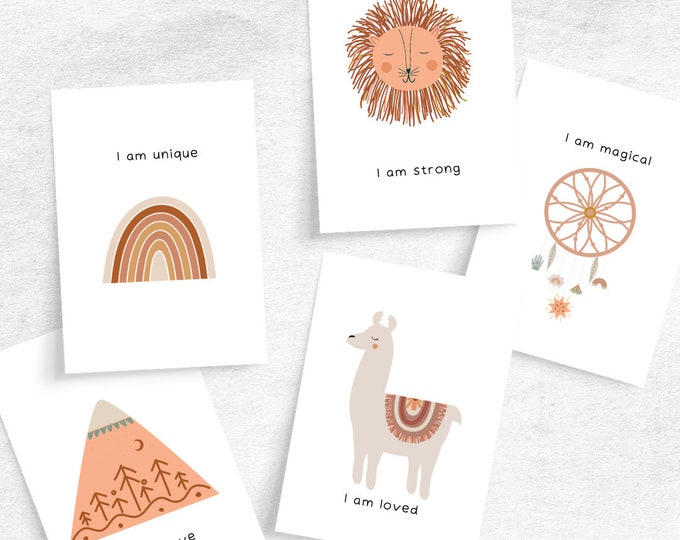 Featured listing image: Boho Baby Nursery Affirmation Cards