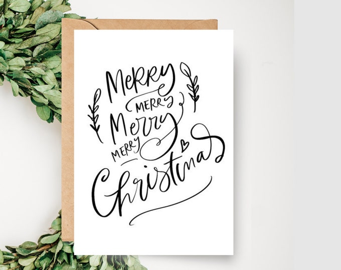 Merry Christmas Card Typography Card