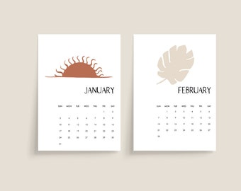 2021 Modern Boho Abstract Monthly Desk Calendar Cards