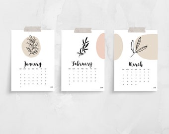 2021 Abstract Leaves Desk Calendar Cards