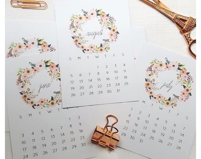 2019 Floral Calendar Cards