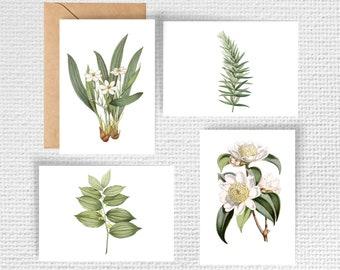 Vintage Botanical Note Cards - Set of 4 | Stationery Set