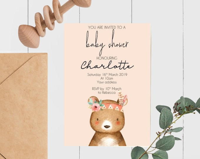 Printed Tribal Bear Baby Shower Invitations (20)