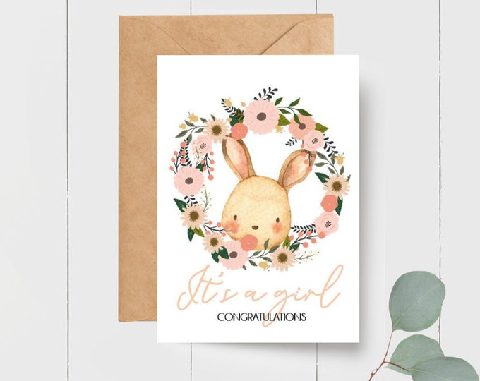 It's a Girl Card + Gift Tag | Card for new Parents