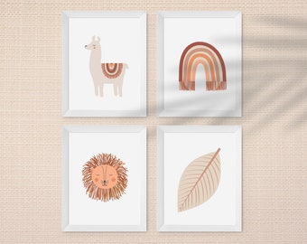 A4 Boho Baby nursery art prints - Set of 4 prints