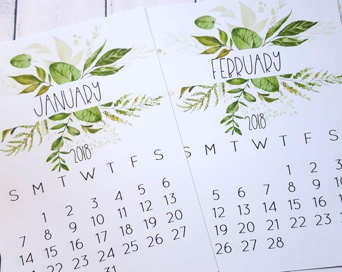 2018 Botanical Desk Calendar Cards