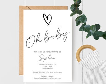 Modern Monochrome Oh Baby Gender Neutral Baby Shower Invitations x 10