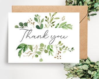 Botanical Greenery Leaves Wedding Thank you Card