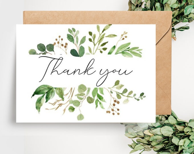 Botanical Greenery Leaves Wedding Thank you Cards