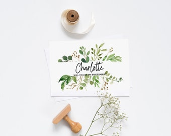 Botanical Greenery Will you be my Bridesmaid Card