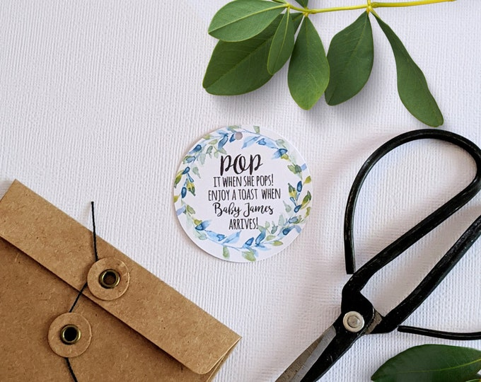 Blue and Green Wreath Pop it when she pops Baby Shower Favour Tags  (24)