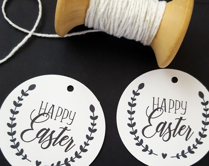 Leaf Wreath Happy Easter Gift Tags x 6