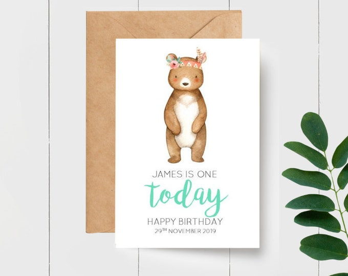 Cute Personalised Tribal Bear 1st Birthday Greeting Card   Age Birthday Card