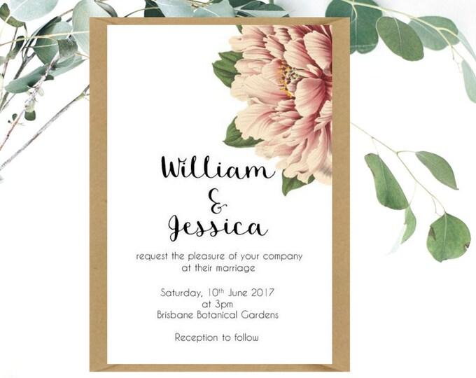 Peony Wedding Invitation and RSVP card   Garden Wedding   Floral Wedding Invitation   Printed Wedding Invitation   Vintage Peony
