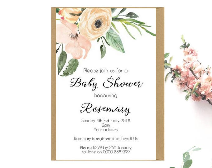 Floral Baby Shower Invitations x 30