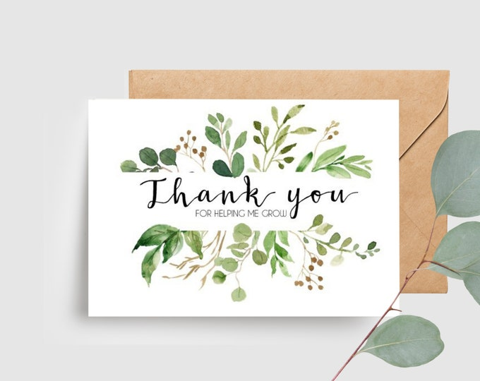 Botanical Leaves Teacher Appreciation Card | Thank you for helping me grow card