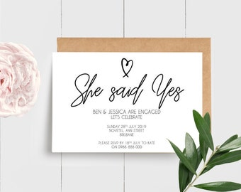 Modern Black and White Heart She said Yes Engagement Party Invitations (25)