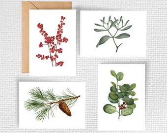 Christmas Botanical Vintage Note Card Set | Set of 8 Notecards