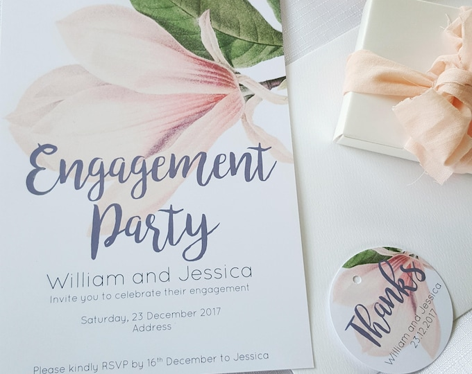 Printed Magnolia Engagement Party Invitations