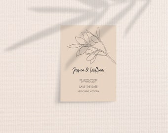 Modern Minimal Botanical Save The Date Cards