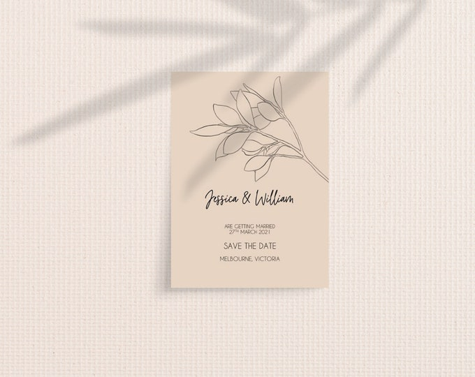 Featured listing image: Modern Minimal Botanical Save The Date Cards