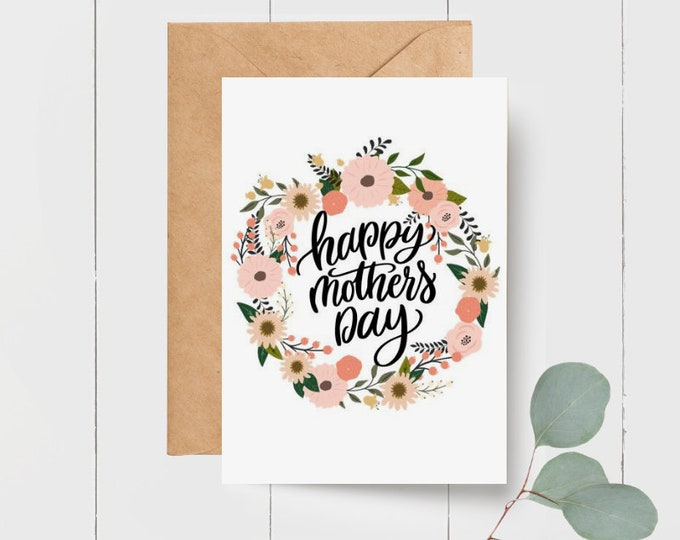 Floral Wreath Happy Mothers Day Card