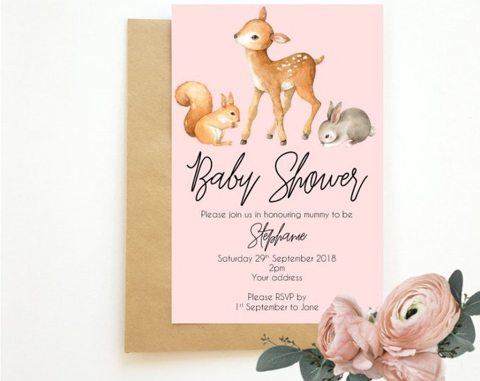 Printed Woodland Baby Animal Baby Shower Invitations (20)