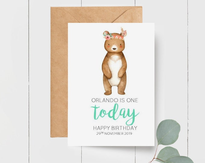 Cute Personalised Tribal Bear 1st Birthday Greeting Card | Age Birthday Card