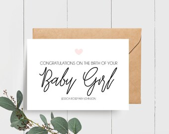 Personalised Congratulations on your Baby Girl | Card for new Parents