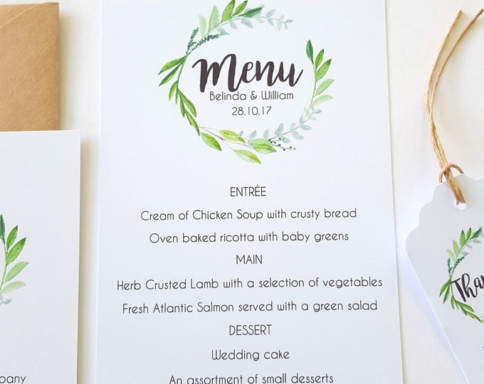 Watercolour Leaf Wreath Wedding Menu Card x 25