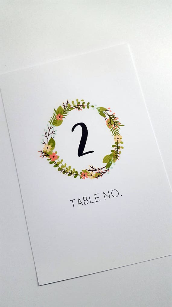 Spring Floral Wreath Wedding Table Number cards x 10